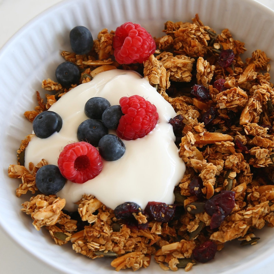 freshly made granola breakfast cereal