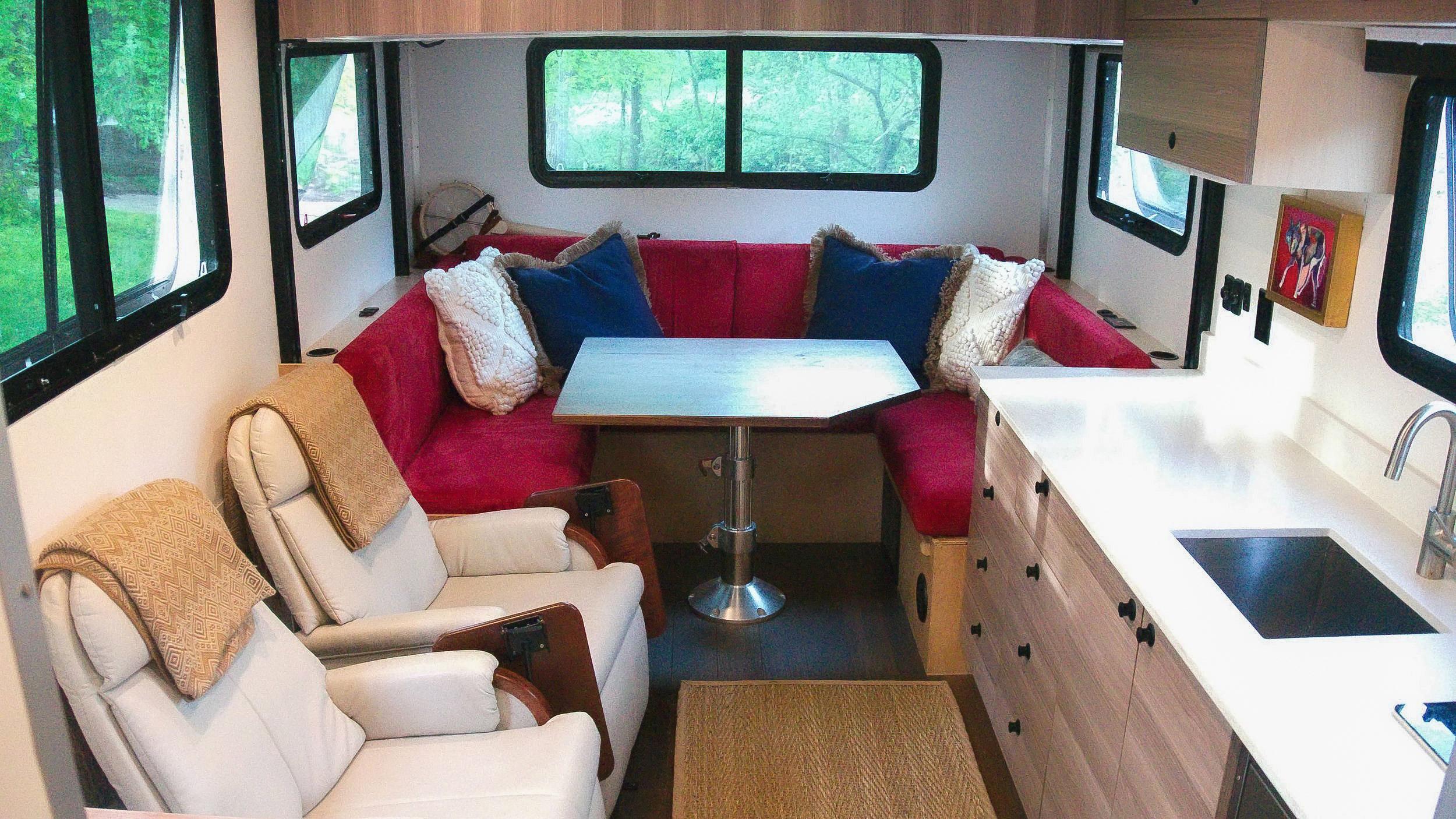 living area with six-person dinette