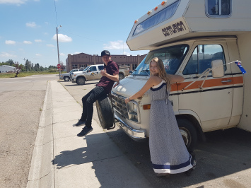 Sami Cooke with RV in Canada