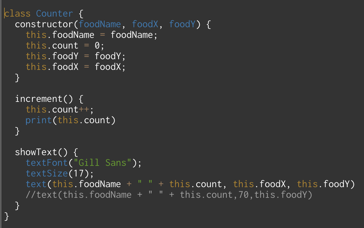 function increment() from Counter class is being called in function meow() in Tag class