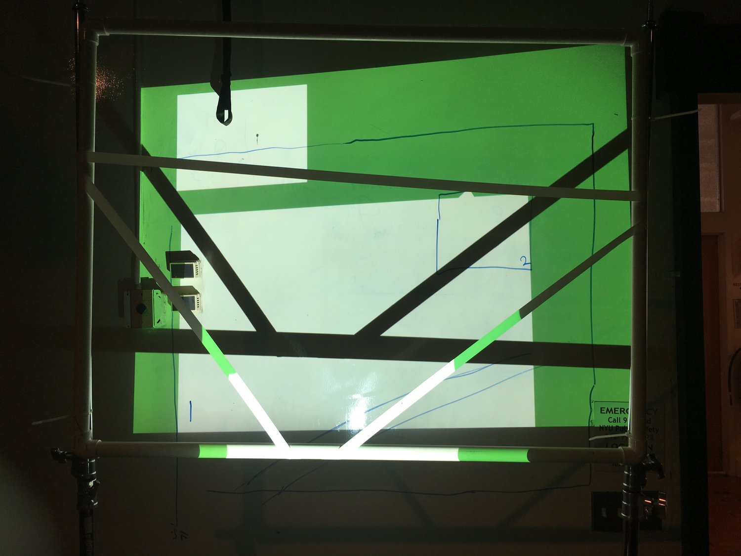 testing PVC frame and projection mapping