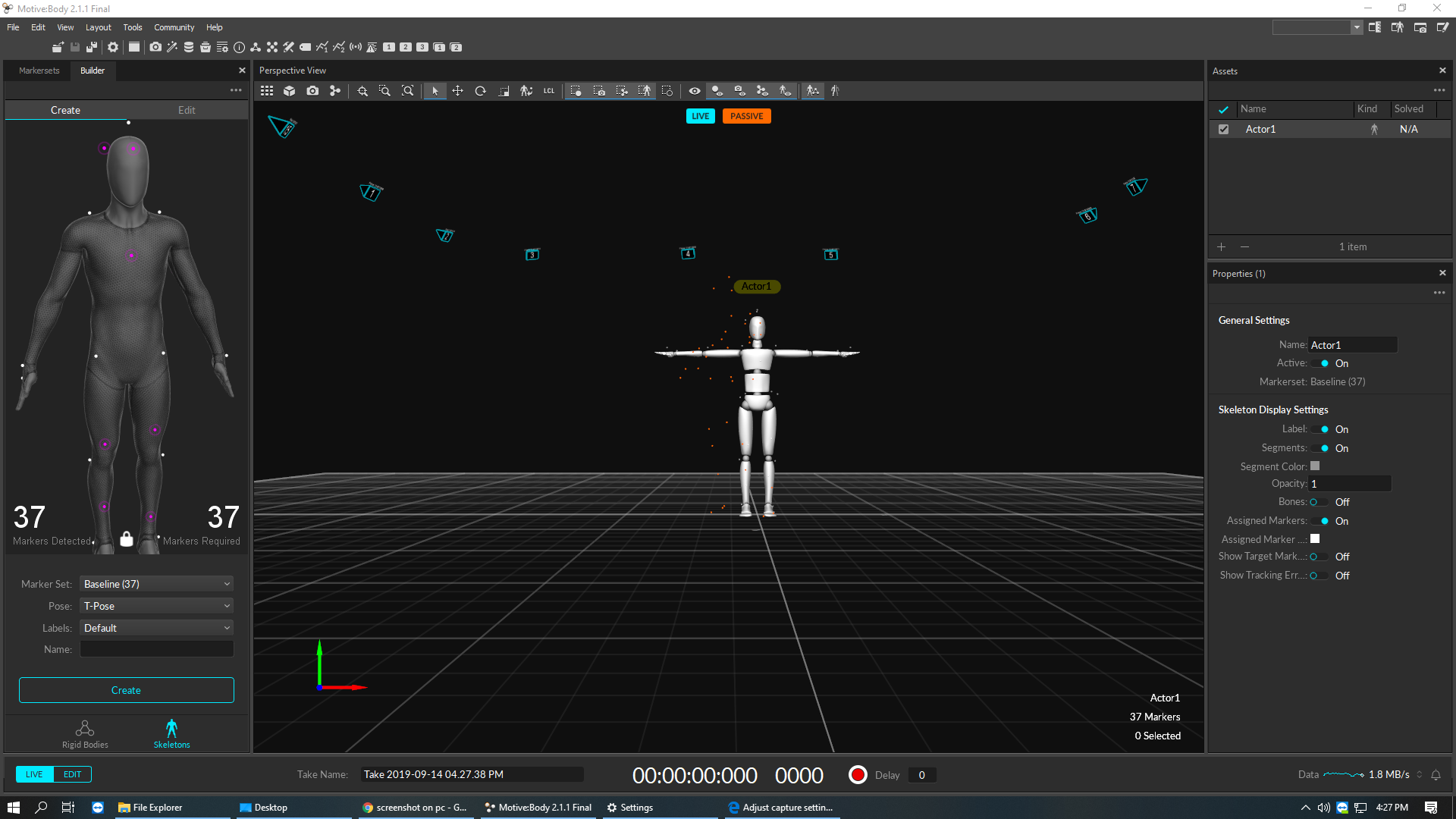 Then, we created a skeleton in Motive.