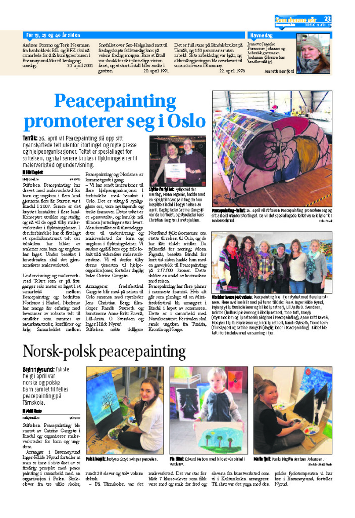 Peacepainting i Brønnøysunds avis 21 april 2016 side 23