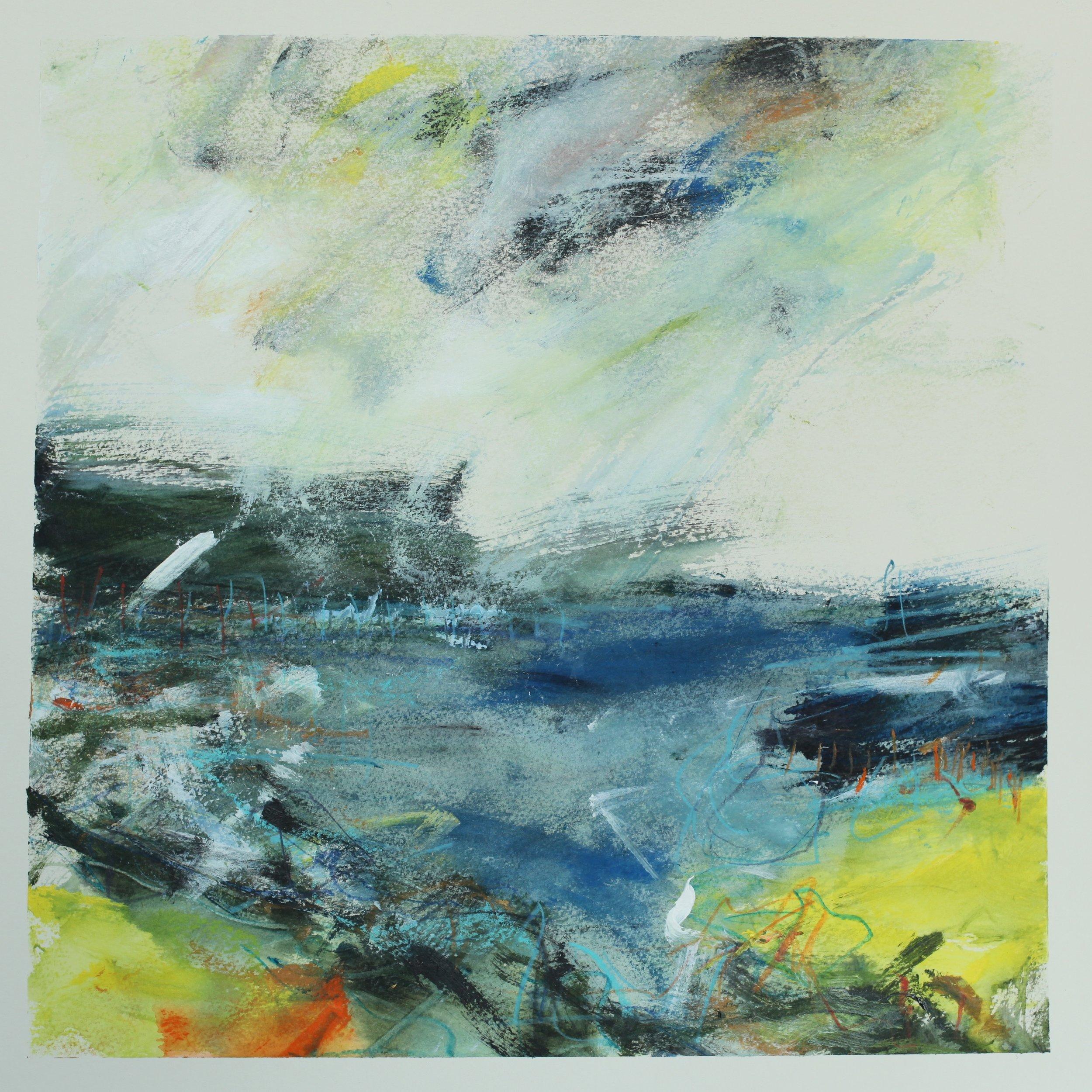 Wilds seas, watercolour, 40 x 40cm