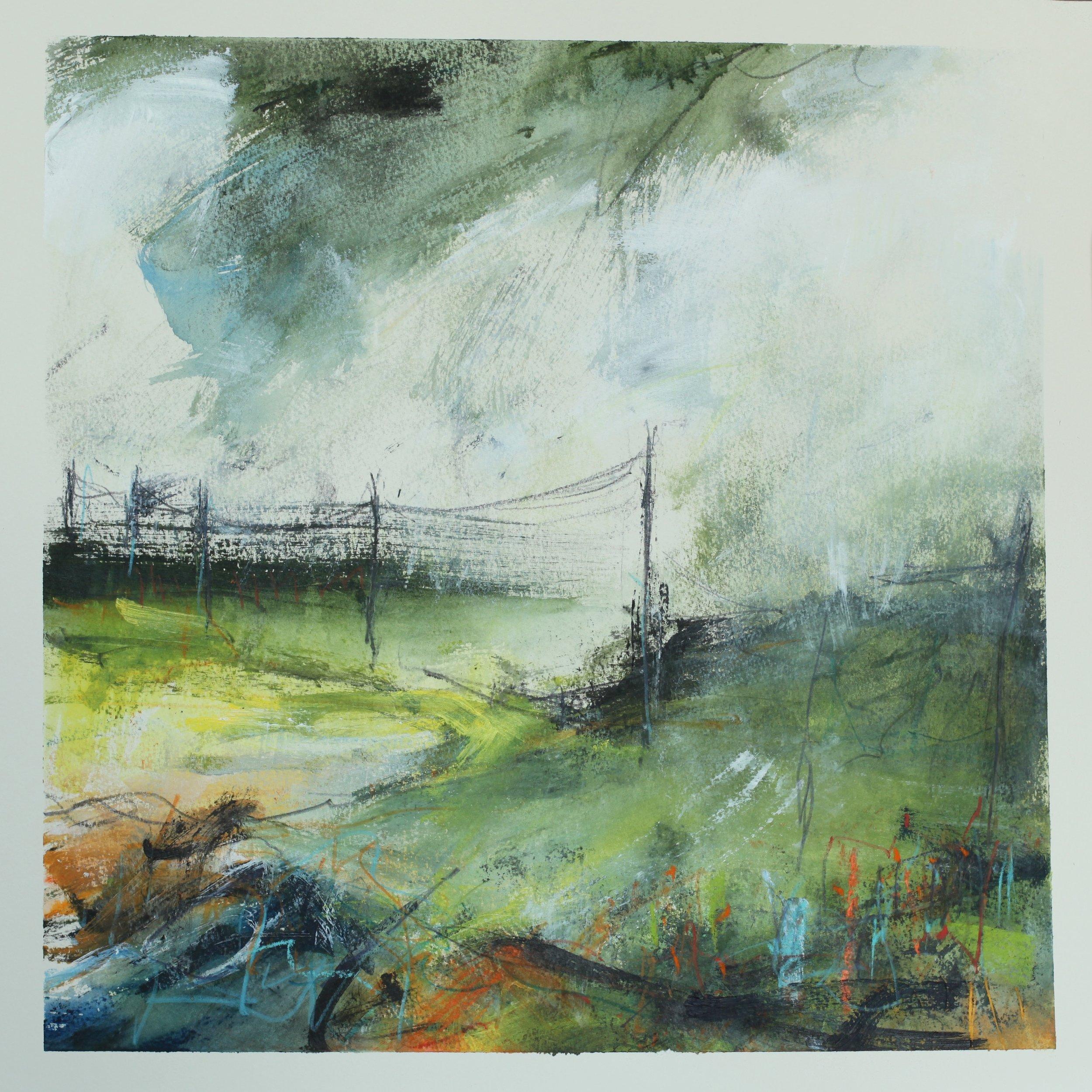 Across the downs, watercolour, 40 x 40cm