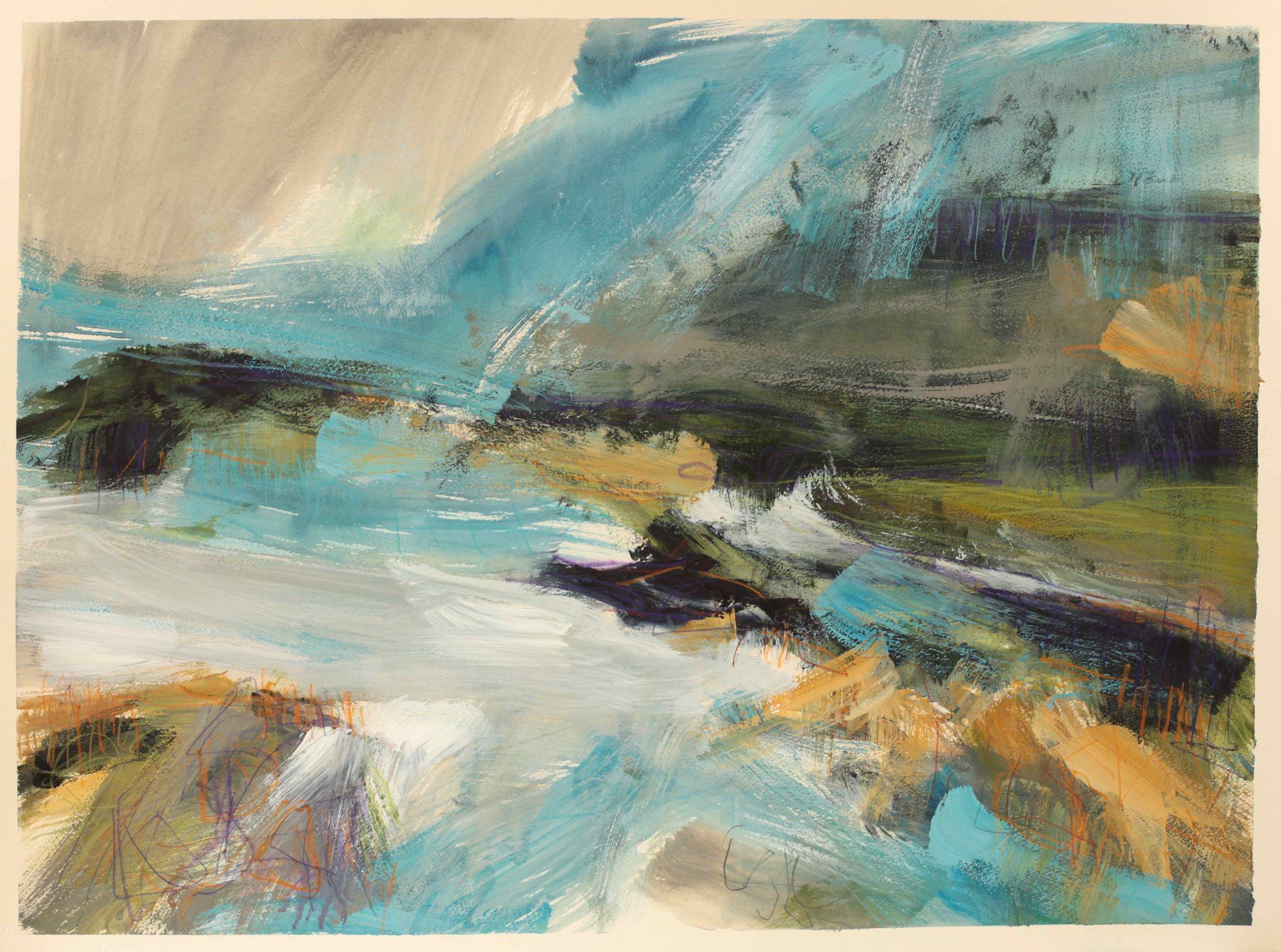 Coastal inlet, watercolour, 60 x 84cm