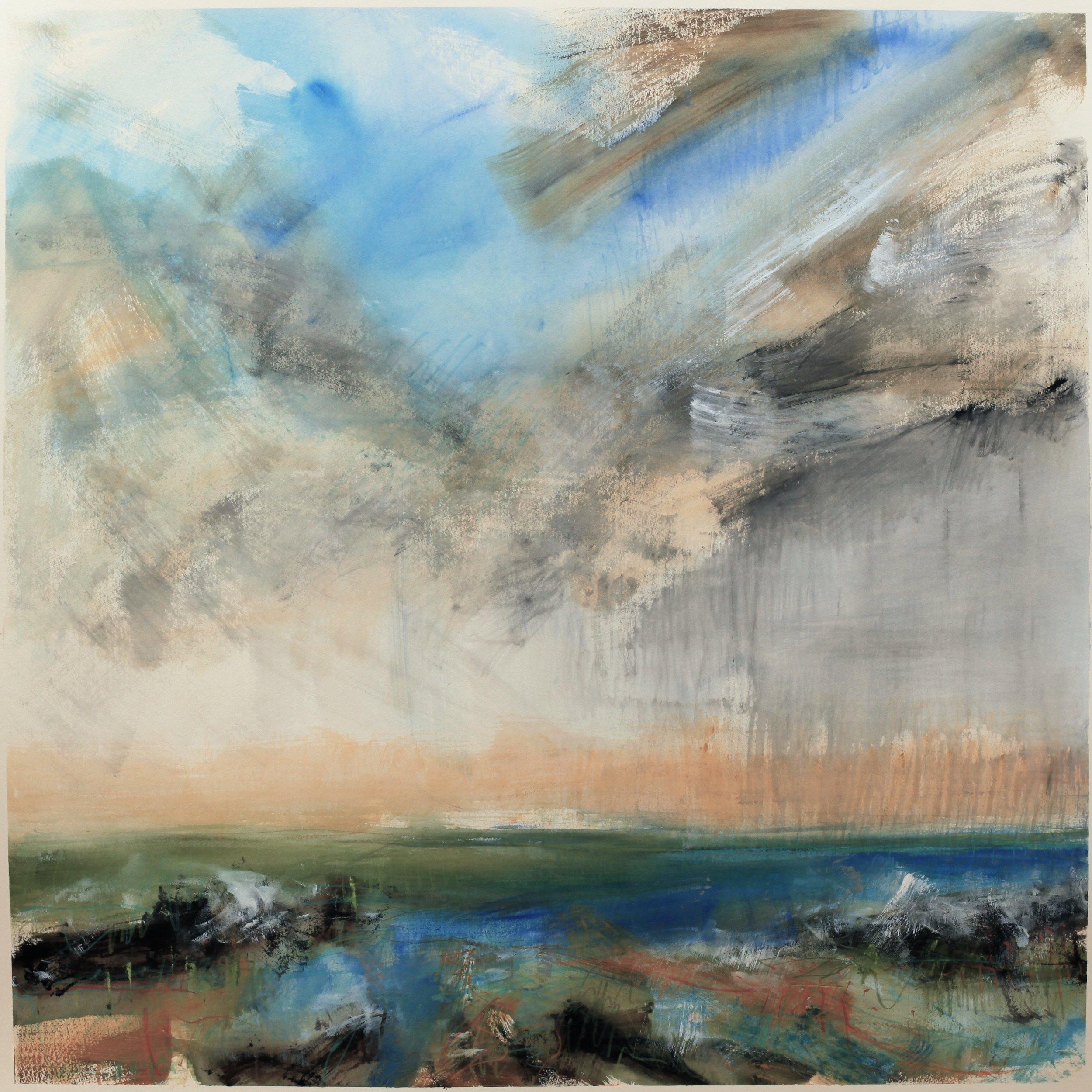 Rain came, watercolour, 104 x 104cm