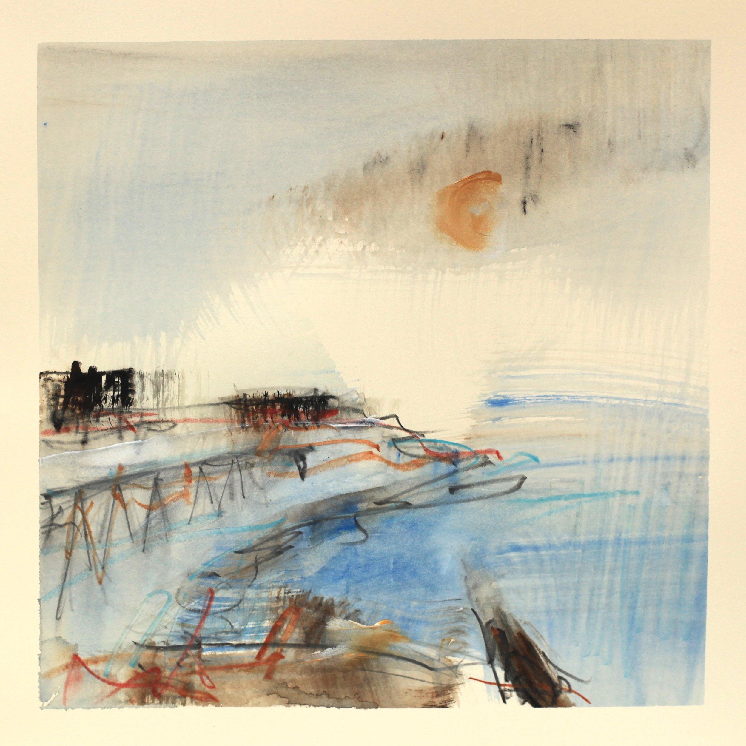 Into the harbour, watercolour, 28 x 28cm