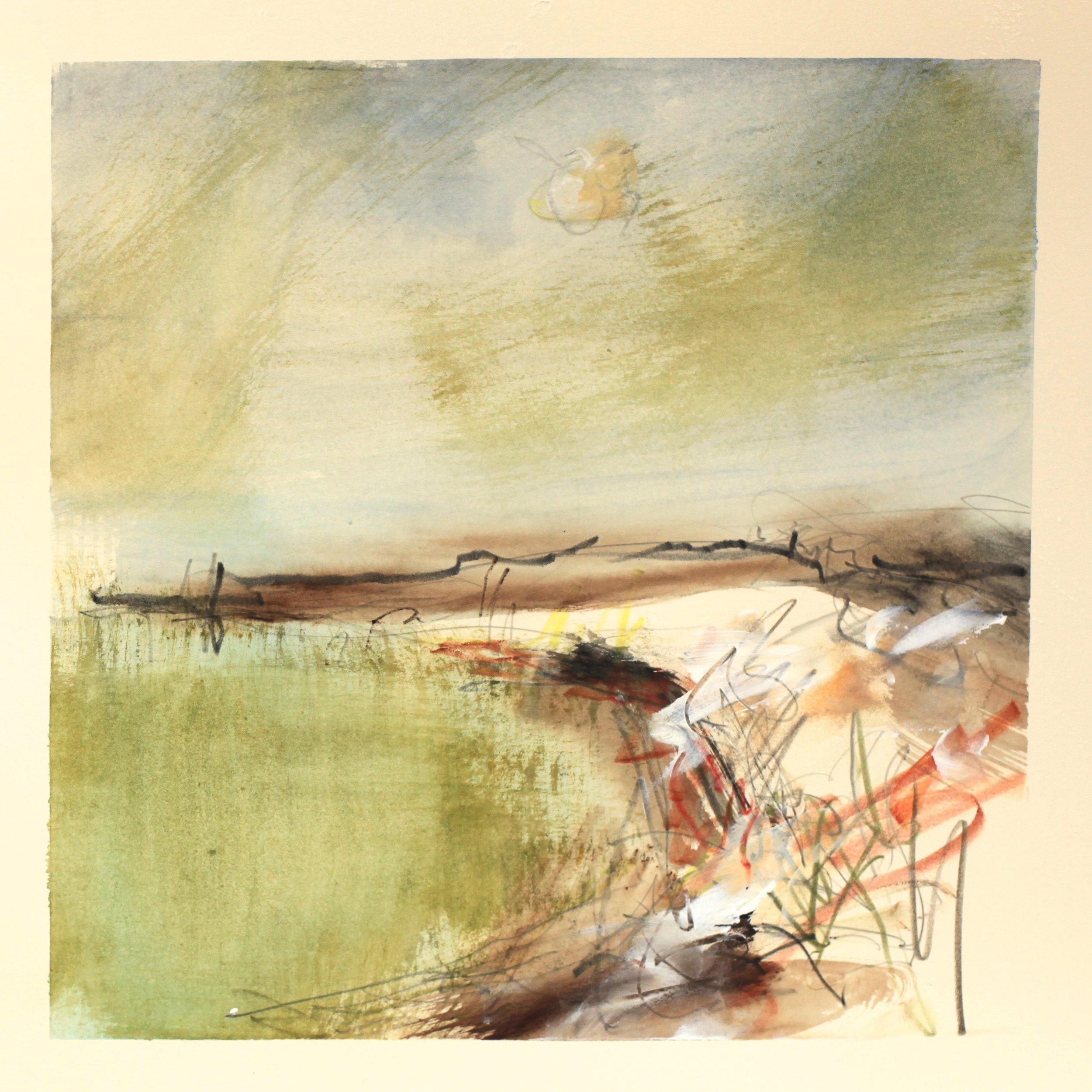 Green tide, watercolour, 28 x 28cm