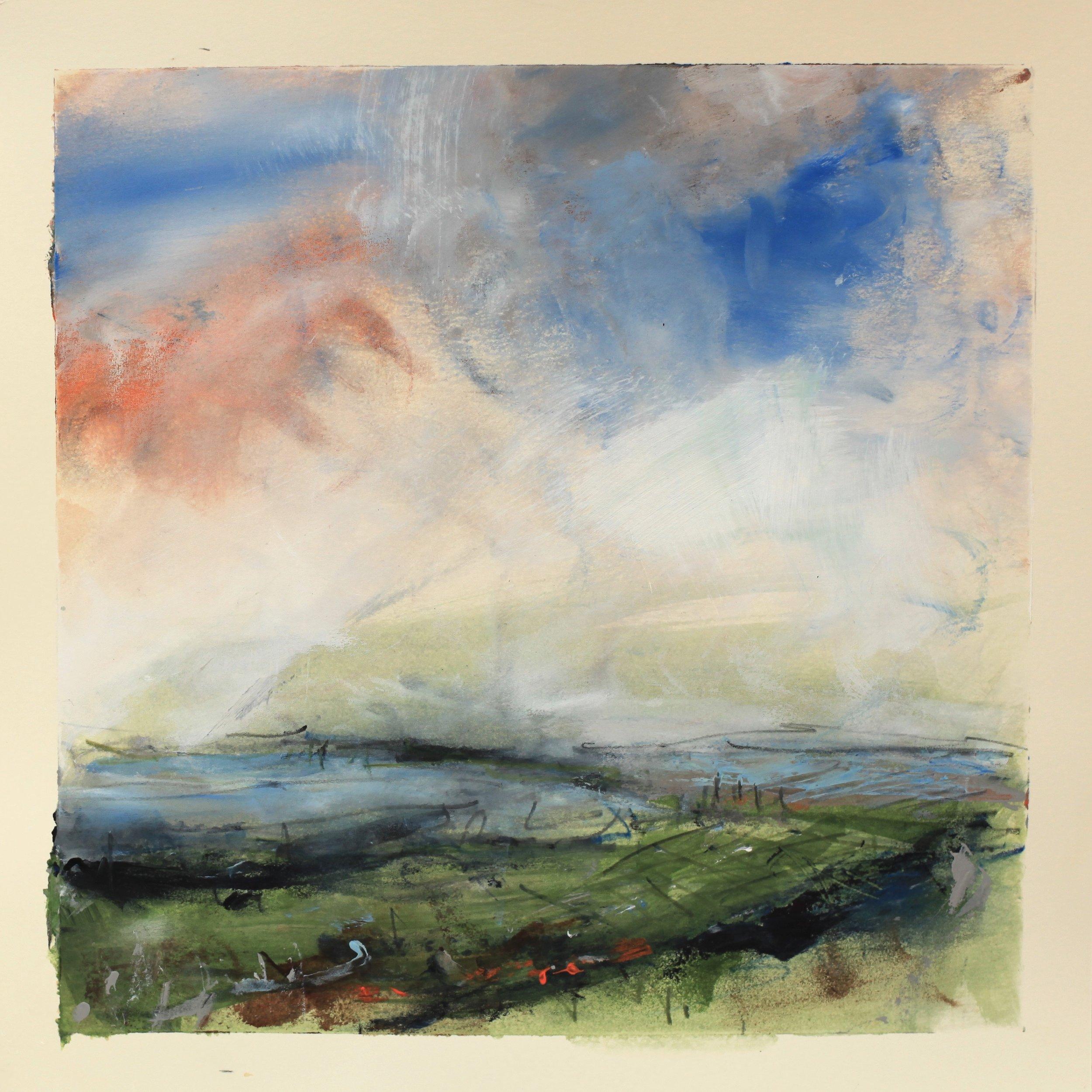 The view across, watercolour, 28 x 28cm