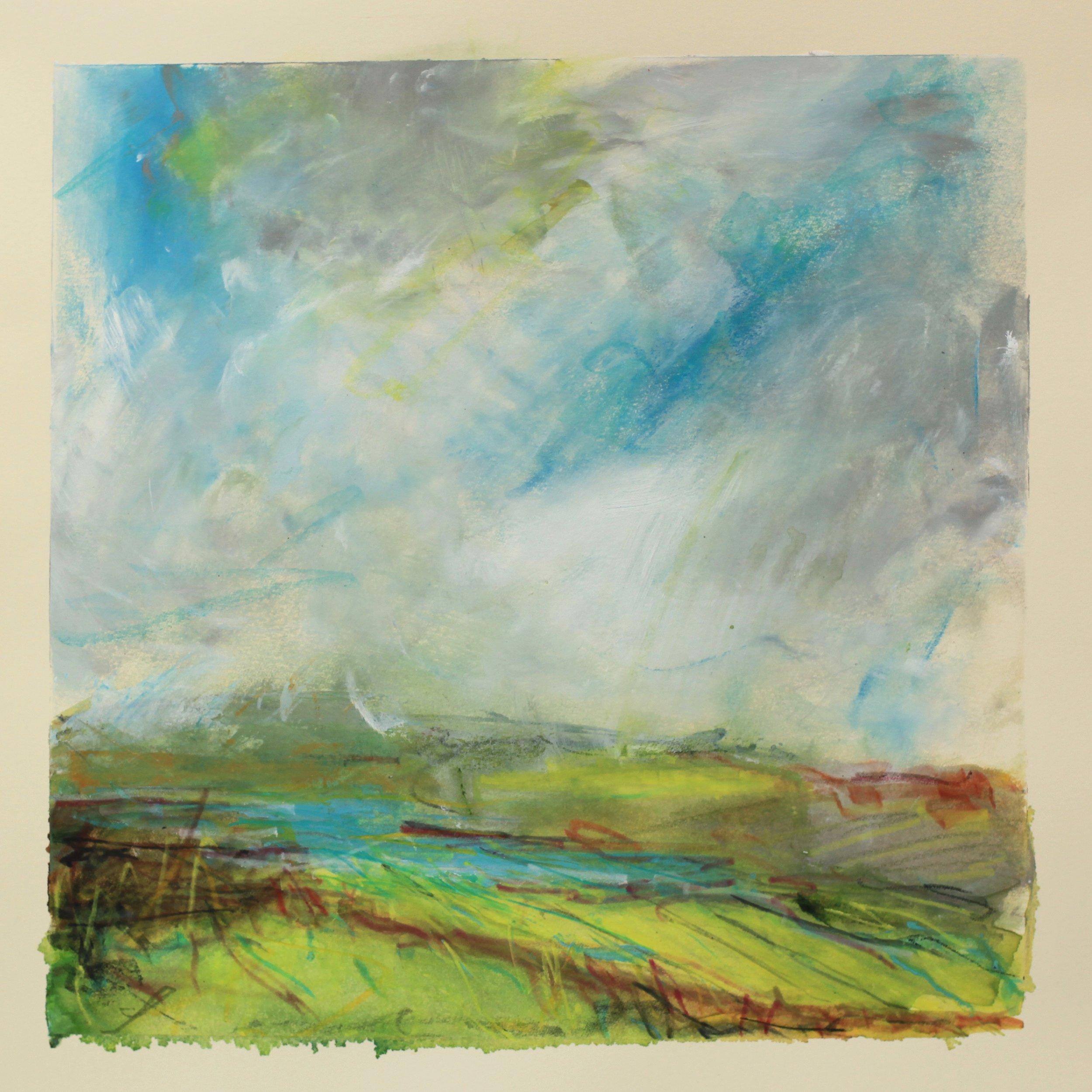Green fields, watercolour, 28 x 28cm