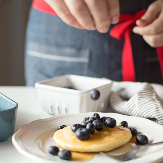 I love to top my pancakes with fresh blueberries. But feel free to use whatever you have on hand for a fresh and light twist to your regular pancake!