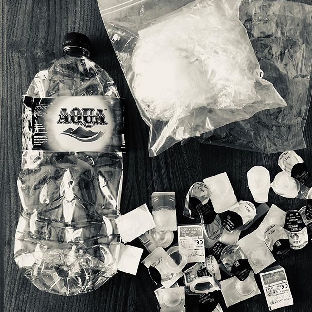 The plastic accomplice to my consumption in Bali, brought back with me to Japan. Missing are two small water bottles that housekeeping kindly took away. Makes me think twice. And again.  I've jotted down some of the lessons that revisited me from DYI trash incineration in Sri Lanka last year- link in bio. . . . #accomplicetoconsumption #choices #whatweleavebehind #plasticwaste #singleuseplastic #modernconvenience #progress #legacy #ourchildrensworld