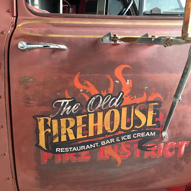The Old Firehouse Restaurant-fire truck lettering. #signmaker #signshop #sign #handlettering #signpainter #distressed #firetruck