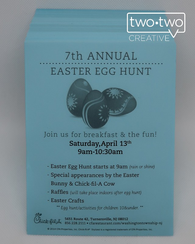 Check out this flyer we made at TwoTwo Creative for Chick-fil-A's Easter event!  Click the photo  to order flyers.