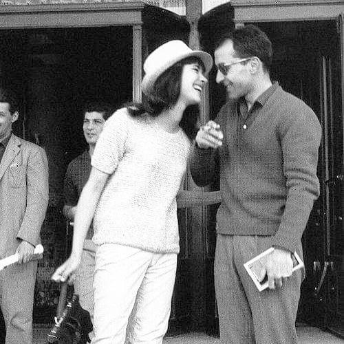 New Wave 🌊 - Anna Karina & Jean-Luc Godard outside hotel Martinez, Cannes By Edward Quinn, 1960