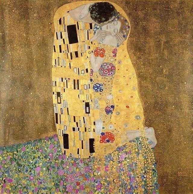 Et d'un peu se goûter, au bord des lèvres, l'âme ! - Le Baiser, 1909 - Gustave Klimt