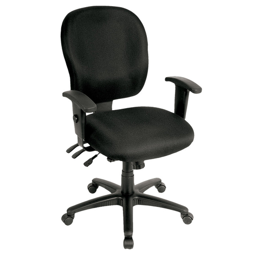 Quick Overview   The Racer Task Chair goes beyond just the regular adjustments. Multi-task mechanism allows independent tilt of the seat and the back. The rachet back height adjustment raises and lowers lumbar support. Adjustable height and width let's arms fit to a wider range of users