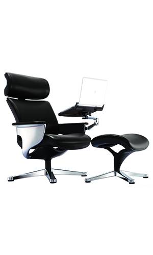 Quick Overview   The Nuvem chair is unmistakably modern and bold. With its three reclining positions and available accessories to integrate laptops, touch screens, and other mobile devices, the Nuvem becomes a stylish workstation of luxurious comfort.