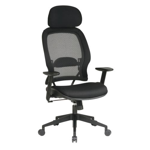 Quick Overview   Space It- Professional AirGrid chair features active lumbar support and a mesh screen back. Mesh screen back allows breathability while adjustable padded lumbar support provides comfort. Functions include one-touch pneumatic seat-height adjustment, 360-degree swivel, tilt, tilt tension, tilt lock, and 2-to-1 synchro tilt. Head rest and arms adjust in height.