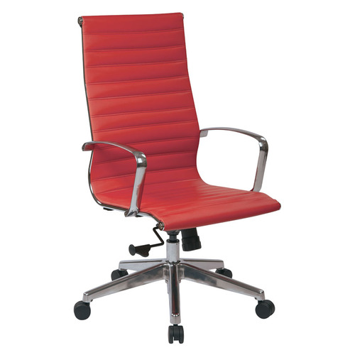 Quick Overview   Manage It- This sleek yet comfortable red executive chair features built-in lumbar support fully supported with a strong, yet lightweight polished aluminum frame that is easy to move. This also features the built in back handle and pneumatic seat height adjustment, locking tilt control with adjustable tilt tension mechanism.