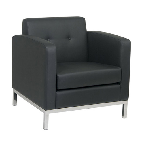 Quick Overview   Lounge It- Constructed of High Performance Easy-Care upholstery, this faux Leather Club Chair is designed with a contemporary edge. This design savvy furnishing features a box spring that provides for solid structural support and comfort, overlay button details for added interest, and a sleek chrome finished square edged metal base for a modern aesthetic and additional durability. Constructed of high quality upholstery, this chair is the perfect addition to office.