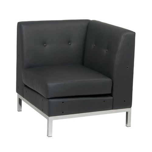 Quick Overview   Lounge It- Wrapped in High Performance Easy-Care upholstery, this faux Leather Corner Chair is contemporarily designed with a chrome finished base and is the perfect addition to any home or office that needs a hip and slick modern look.