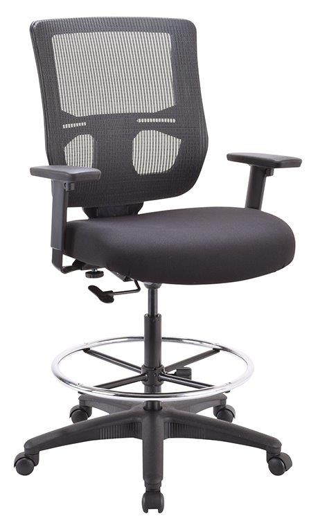 Quick Overview   Mesh mid-back drafting stool. Black mesh-back and Black fabric seat.