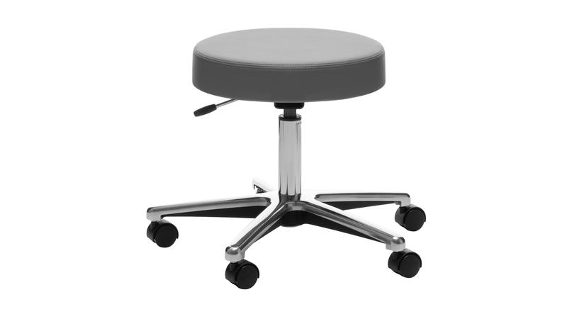 Quick Overview   Functionality and performance are second nature for this industry standard. Models are available with or without a backrest. Polished chrome frame and die-cast aluminum base with 2-inch hard plastic dual wheel casters. Caster option include soft plastic, braking or bell shaped glides. Swivel seat comes with pneumatic seat height adjustment.