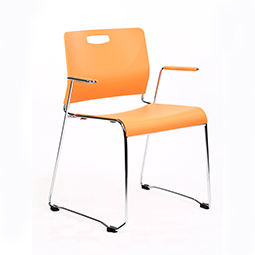 Quick Overview   Standard guest chair with armrests. Sled shape frame with plastic back and plastic seat.