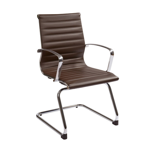 Quick Overview   Manage It- Chocolate Eco Leather Guest Chair With Polished Aluminum Arms And Sled Base. Available in red, white, gray, and black.