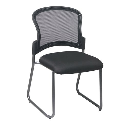 Quick Overview   Stack It- This Visitors Chair has a titanium-finish metal frame with ProGrid breathable back and mesh fabric padded seat for comfort.