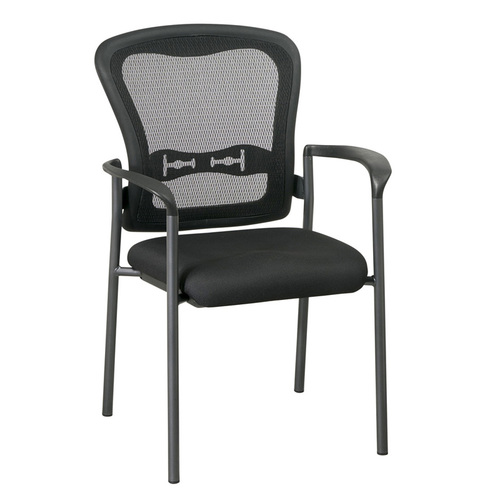 OFD Mesh It ProGrid Back Visitors Chair with Arms and Titanium Finish   $310