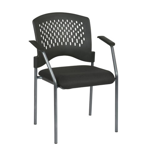 Quick Overview   Stack It- Titanium Finish Visitors Chair With Arms And Plastic Wrap Around Back