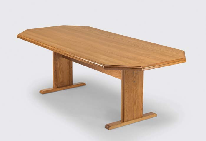 """Quick Overview   The Octagonal Conference offers handcrafted solid oak including solid oak table tops for structural integrity and enduring beauty. Conference table tops are one piece construction, including 96"""" and 120"""" tables with step hand rubbed finish. Matching solid oak chairs available with or without casters"""