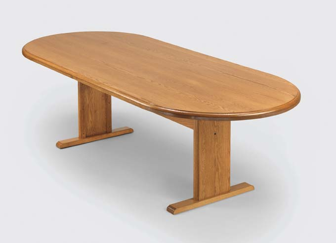 """Quick Overview   The Oval Conference offers handcrafted solid oak including solid oak table tops for structural integrity and enduring beauty. Conference table tops are one piece construction, including 96"""" and 120"""" tables with step hand rubbed finish. Matching solid oak chairs available with or without casters."""