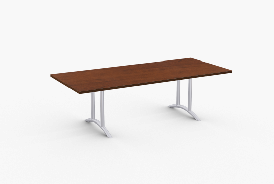 "Quick Overview   Oscar features 14 gauge arched dual column legs. Tables 60"" and longer include steel support to prevent sagging. Special•T table tops are nominal 1-1/4"" thick. Core is 1-1/8"" thick 45# M3 industrial strength density particle board. The top surface is laminated with High Pressure Laminate (HPL) and the bottom is covered with a balance backer. Standard edge is 3mm PVC."