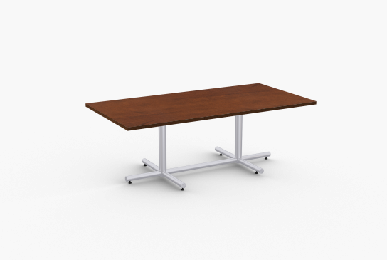 """Quick Overview   Connect features extended X-base for rectangular tables made with 14 gauge tubular steel.SpecialT table tops are nominal 1-1/4"""" thick. Core is 1-1/8"""" thick 45# M3 industrial strength densityparticle board. The top surface is laminated with High Pressure Laminate (HPL) and the bottom iscovered with a balance backer. Standard edges are T-mold and 3mm PVC."""
