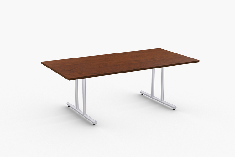 """Quick Overview   Olympus features heavy duty 14 gauge dual column T-Legs with welded mounting plates andwelded steel endcaps. Tables 60"""" and longer include steel support to prevent sagging. SpecialTtable tops are nominal 1-1/4"""" thick. Core is 1-1/8"""" thick 45# M3 industrial strength density particleboard. The top surface is laminated with High Pressure Laminate (HPL) and the bottom is coveredwith a balance backer. Standard edge is 3mm PVC."""