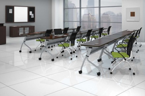 Quick Overview   The Sync table line links style and function, assembles in minutes, gangs in a snap, and moves with graceful ease into any configuration.