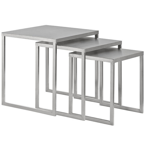 Quick Overview   Progress steadily forward with the charged Rail nesting table set. Bolstered by a series of brushed aluminum segments, Rail displays a mode of strategic progress amidst minimalist elements. Pleasing to the eye and resounding to your decor, remain malleable to change with a design that stays fully charged at all times. Perfect for contemporary living rooms and lounge spaces.