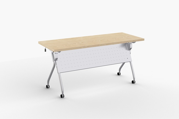 Quick Overview   Transform is an affordable, versatile and contemporary table with straight-on nesting capability in the flipped position. Its light weight materials, casters and one-handed activation allows anyone to flip and move this table with ease. Perforated steel modesty panel is an integral part of the base providing privacy, stability and an elegant look. Continuous heavy duty support beam prevents top from sagging.