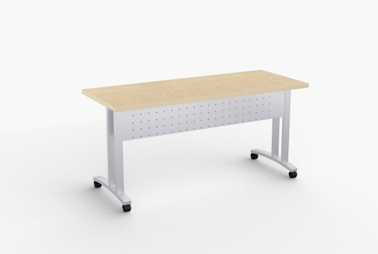 """Quick Overview   Structure FlipTop-C tables feature heavy duty rectangular steel mounting beam with a single point, fully enclosed, positive locking mechanism, built-in modesty panel and removable wire channel. Welded legs are 14 gauge rectangular steel. The columns are offset to allow additional leg room. Continuous beam prevents top from sagging. SpecialT table tops are nominal 1-1/4"""" thick. Core is 1-1/8"""" thick 45# M3 industrial strength density particle board. The top surface is laminated with High Pressure Laminate (HPL) and the bottom is covered with a balance backer. Standard edge is 3mm PVC."""
