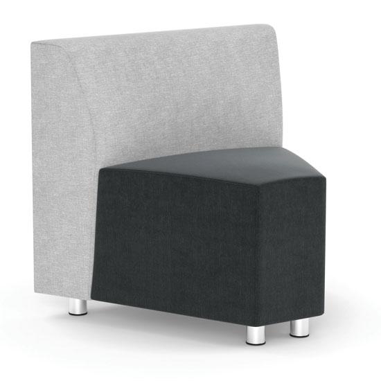COE Armless Corner Modular Chair with Silver Post Legs   650.00