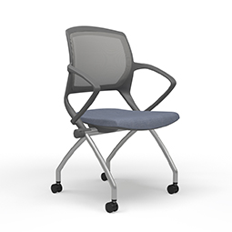 Quick Overview   The 9 to 5 SEATING ZOOM CHAIR pulls out all the stops as a highly durable and functional multi-purpose seating solution that sets up rapidly for a large number of people. It's intuitive and clever design features a flexible, breathable premium mesh back and an optional upholstered seat for a soft touch and maximum comfort.