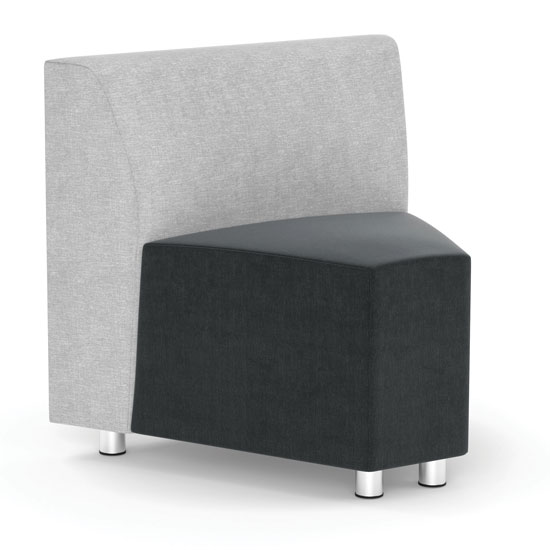 Quick Overview   Add a great element of comfort and elegance to your office with this armless corner modular chair. The thoughtful design of this chair ensures that it is a comfortable addition to any area in your office space. It is also ultra-comfortable, even for extended seating. The cool contemporary design of this office furniture must-have ensures that it looks good anywhere that it is placed in your office. The silver post legs add a sleek contemporary touch to the overall design and style of this chair. Add some to your reception area, or perhaps create a cozy conversational area in your private office.