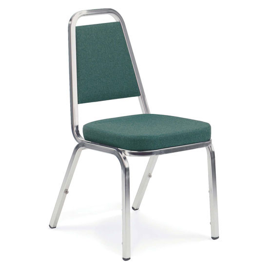 "COE Upholstered Stack Chair with 2"" Crown Seat and Silver Metal Frame   194.00"