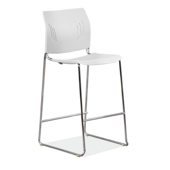 COE Polyurethane Stool with Footrest and Chrome Base