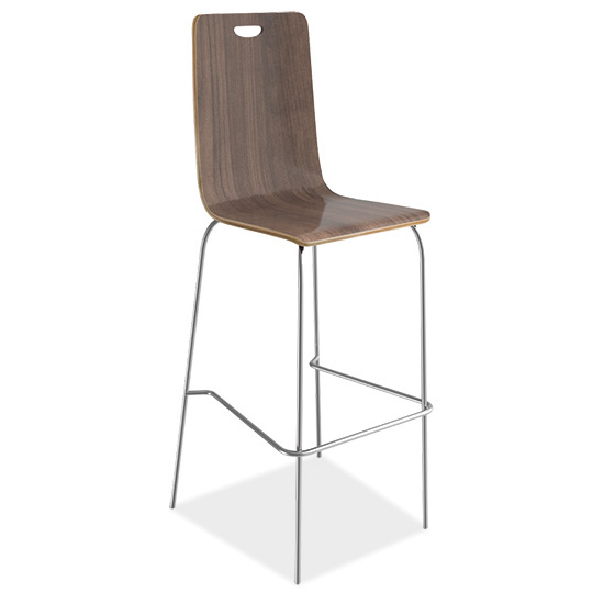 COE Cafe Height High Back Wood Stool