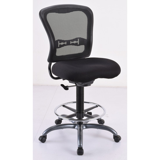 COE Armless Mesh Back Task Stool with Black Upholstered Seat